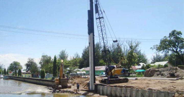 pemancangan sheet pile beton